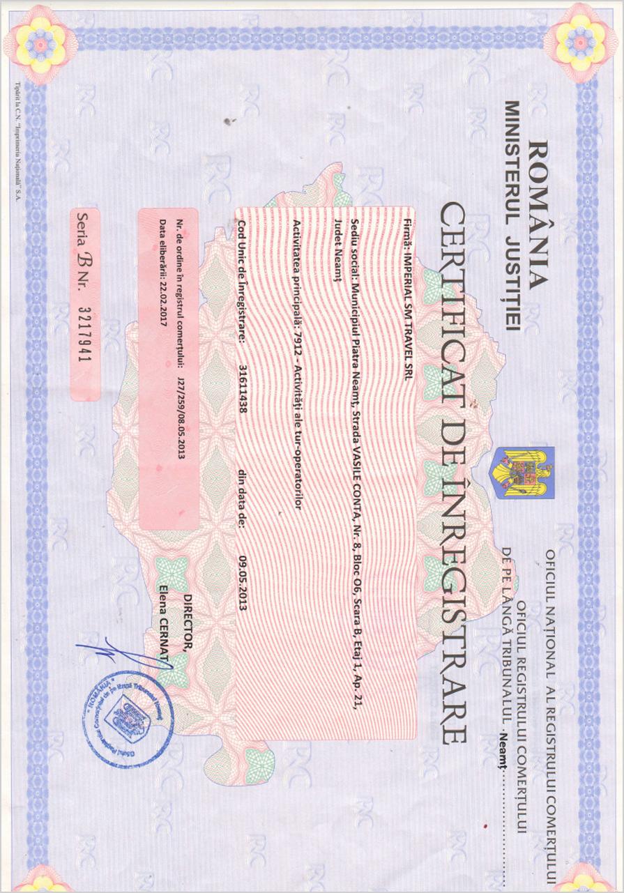 Certificat de Inregistrare Imperial SM Travel SRL