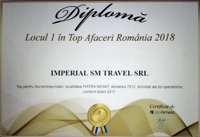 """""""Locul 1 in Top Afaceri România 2018"""", cea mai bună Agenție Tur Operatoare din Piatra Neamț 👍🥇🏆🇹🇩"""